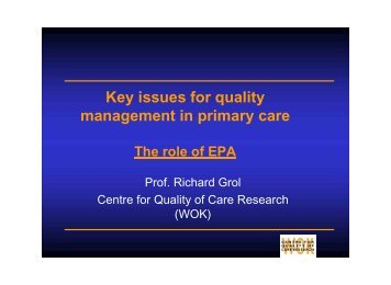 Key issues for quality management in primary care - Physician ...