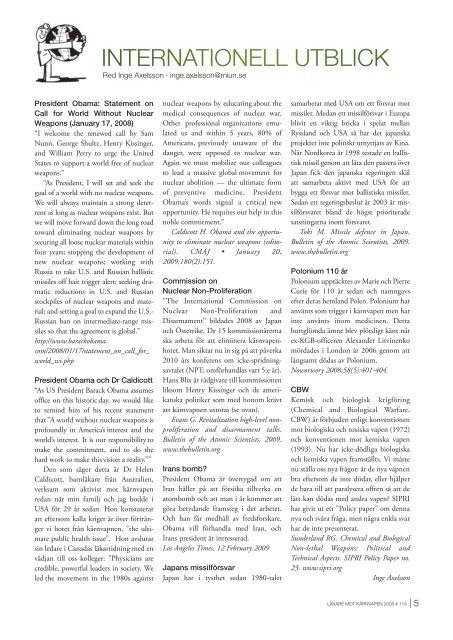 Nr. 116 - Svenska Läkare mot Kärnvapen
