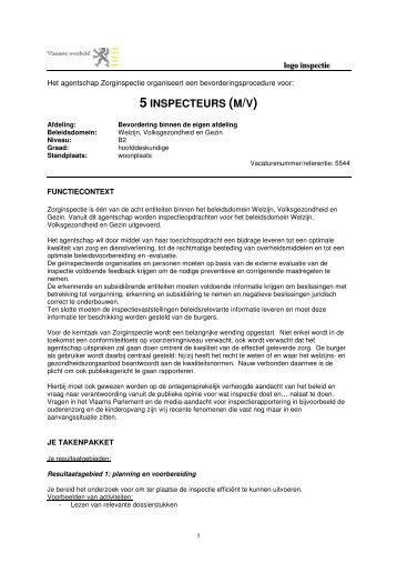 5 INSPECTEURS (M/V) - Jobpunt Vlaanderen