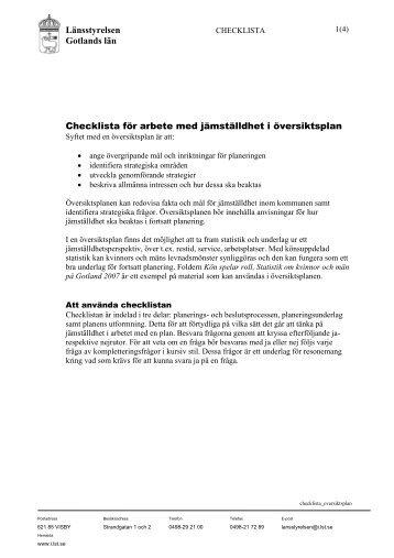 Checklista för arbete med jämställdhet i översiktsplan