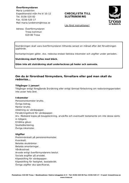 Nr 11 Checklista sluträkning brevhuvud.pdf - Trosa kommun