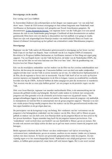 Streetgangs en de media Een verslag van Coco Gubbels In ... - Savan