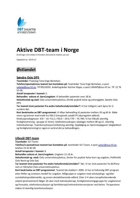 65020e00b Liste over aktive DBT-team vinteren 2013