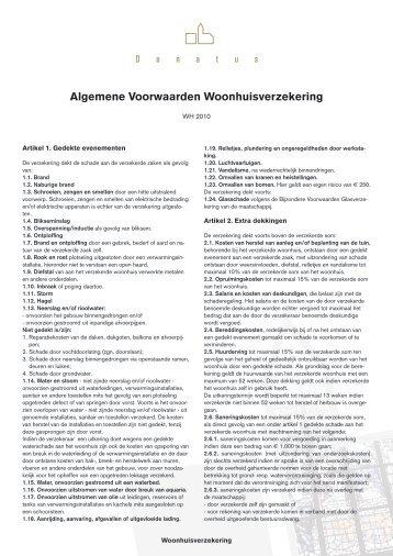 Woonhuisverzekering - WH 2010 - Donatus Verzekeringen