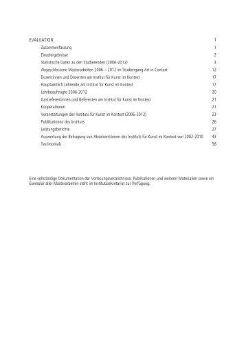 AiC_Evaluation - Institut für Kunst im Kontext - Universität der Künste ...