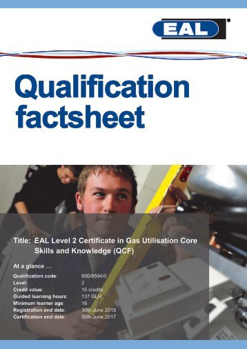 EAL Level 2 Certificate in Gas Utilisation Core Skills and Knowledge