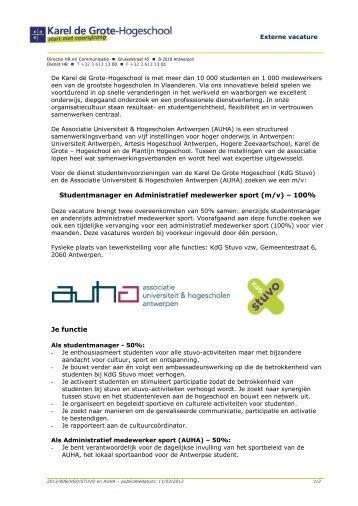 Studentmanager en Administratief medewerker sport (m ... - KdG Stuvo