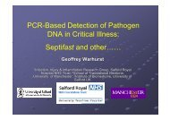 PCR-Based Detection of Pathogen DNA in Critical Illness: Septifast ...