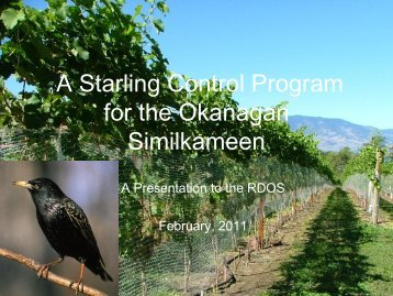 A Starling Control Program for the Okanagan ... - Rdosmaps.bc.ca