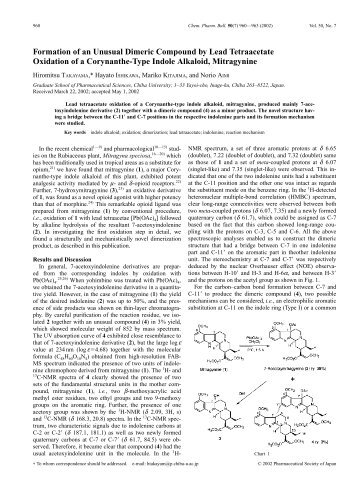 Formation of an Unusual Dimeric Compound by Lead ... - Drugs-forum