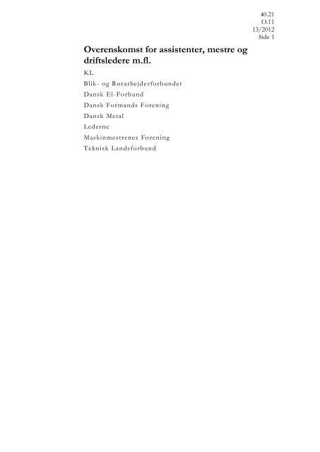 40.21 Overenskomst for assistenter, mestre og driftsledere m.fl.