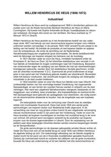 WILLEM HENDRICUS DE HEUS - Het Utrechts Archief