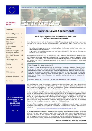 Service Level Agreements - SCICnet - Europa