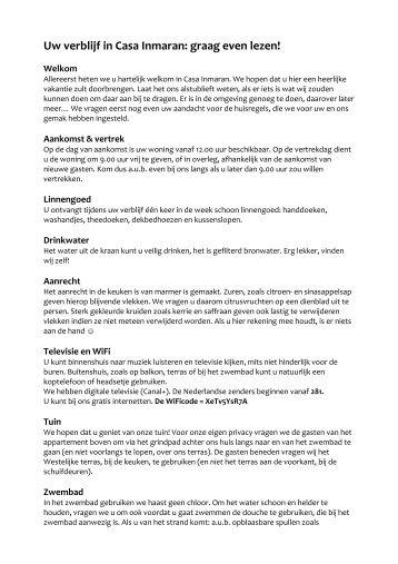 Huisregels en toeristische informatie: dit document ... - Casa Inmaran