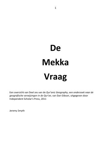 De Mekka Vraag NL - The Search For Mecca