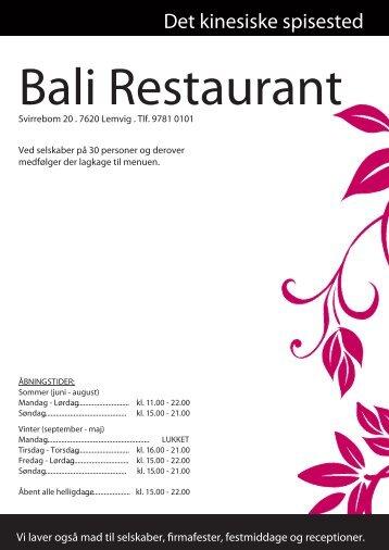 bali restaurant lemvig