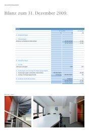 Bilanz zum 31. Dezember 2009. - Bahnhofplatz-Gesellschaft