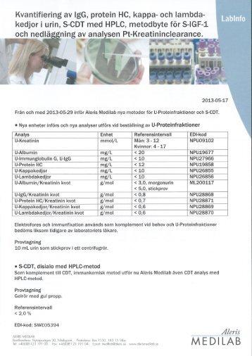 Kvantifiering av IgG, protein HC, kappa - Aleris