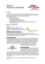 PROJECT EXCELLENTE LEERLINGEN - SCOPE Scholengroep