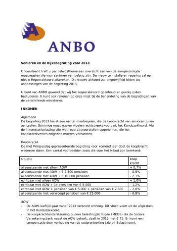Senioren en de Rijksbegroting voor 2013 Onderstaand treft u ... - Anbo