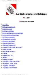 La Bibliographie de Belgique Juin 2004 - Koninklijke Bibliotheek ...