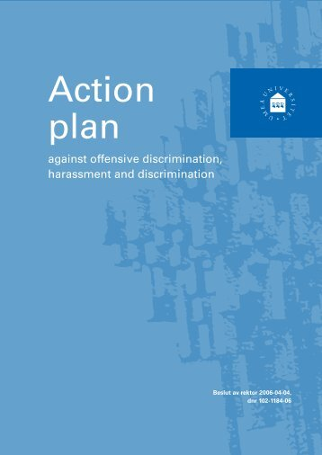 Action plan against offensive discrimination, harassment and ...