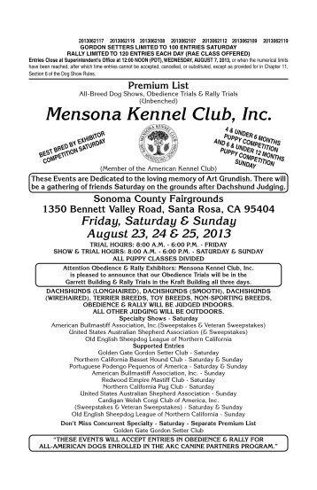 Mensona Kennel Club Inc