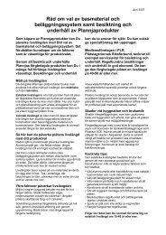 Råd om val av basmaterial och beläggningssystem samt ... - Plannja