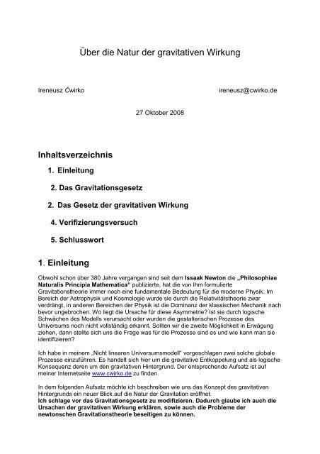 Über die Natur der gravitativen Wirkung - Ireneusz Cwirko