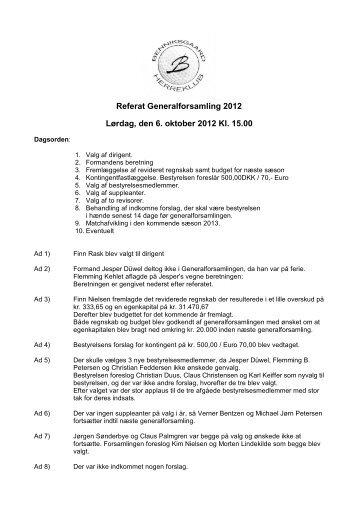 Referat Generalforsamling 2012 Lørdag, den 6. oktober 2012 Kl. 15.00