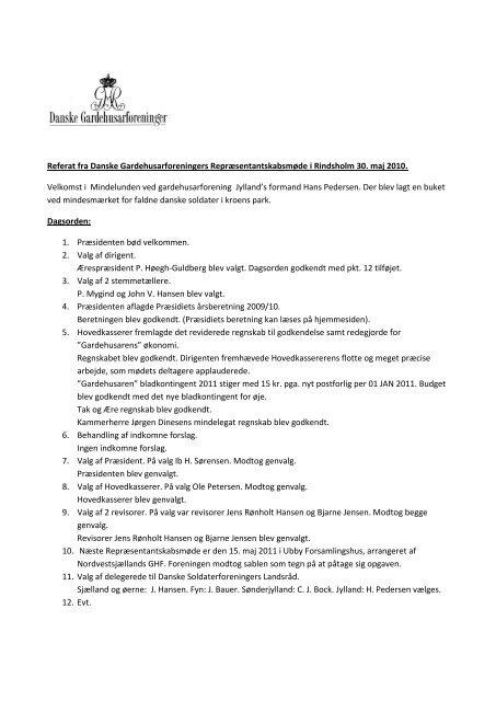 Referat af Repræsentantskabsmøde 30. maj 2010 - Danske ...