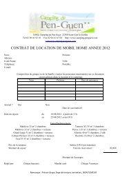 CONTRAT DE LOCATION DE MOBIL HOME ANNEE 2012