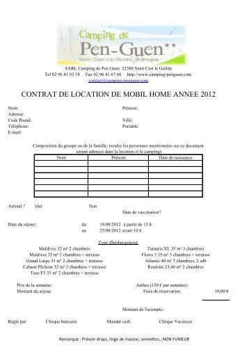 Contrat de location des mobilhome riviera vacances et for Location materiel de jardinage entre particulier