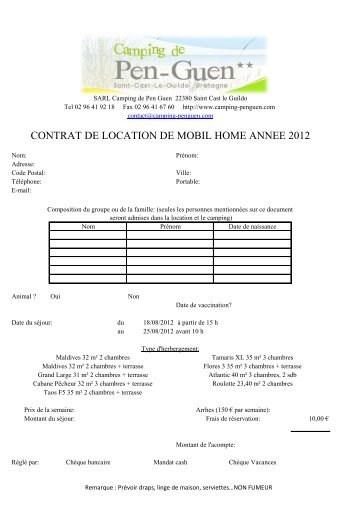 CONTRAT DE LOCATION DE MOBIL HOME ANNEE 2012