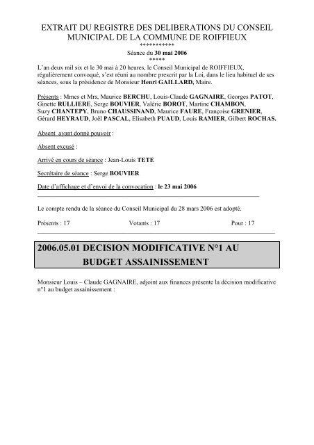 2006.05.01 DECISION MODIFICATIVE N°1 AU BUDGET ... - Roiffieux