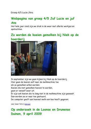Webpagina van groep 4/5 Juf Lucie en juf Ans Zo worden de koeien ...