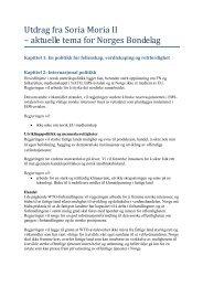 Utdrag fra Soria Moria II – aktuelle tema for Norges Bondelag