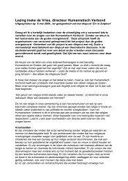 Lezing Ineke de Vries, directeur Humanistisch Verbond