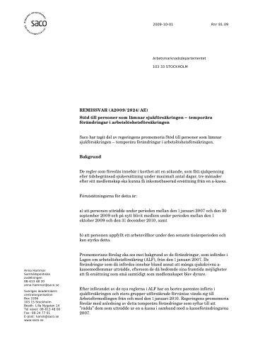REMISSVAR (A2009/2824/AE) Stöd till personer som lämnar ... - Saco