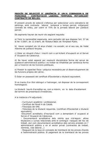 procés de selecció cobrador-a aparcaments - Ajuntament de Lloret ...
