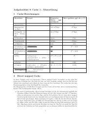 Aufgabenblatt 8: Cache 1 - Musterlösung 1 Cache-Berechnungen 2 ...