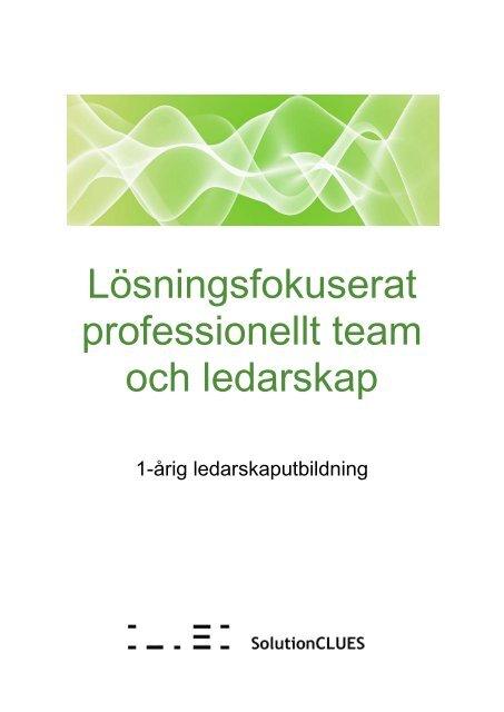 Lösningsfokuserat professionellt team och ledarskap - Clues