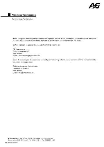 Algemene Voorwaarden Verzekering Pack Fietser