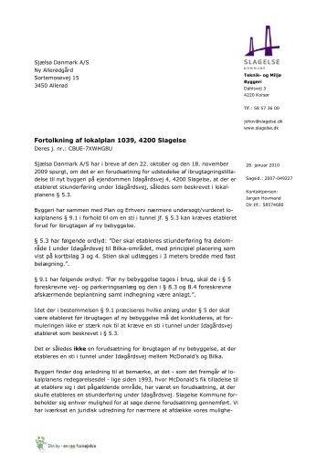 Forudsætning for ibrugtagen, svar til sjælsø - Slagelse Kommune
