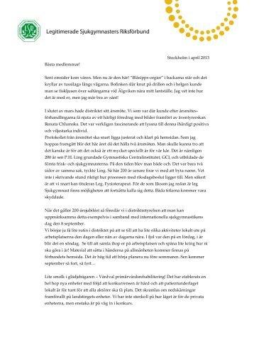 Medlemsbrev april 2013