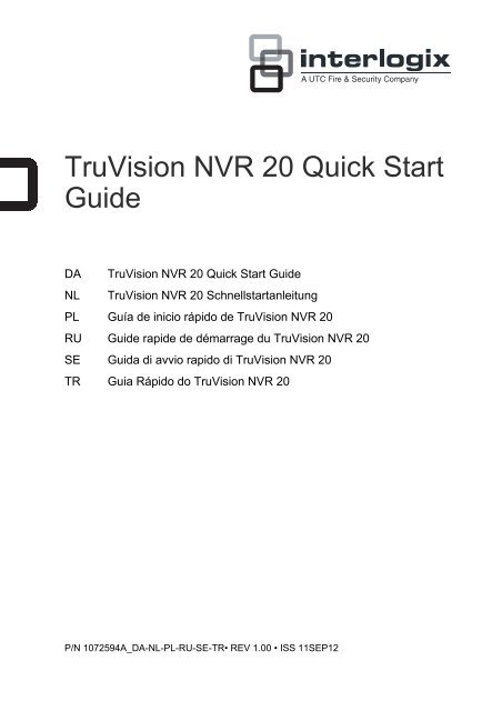 TruVision NVR 20 Quick Start Guide - UTC Fire & Security
