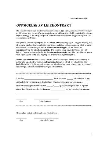 oppsigelse av leieforhold uten kontrakt