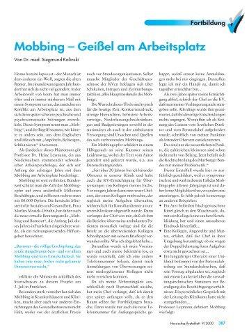 Mobbing – Geißel am Arbeitsplatz - Landesärztekammer Hessen