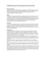 Projektbeskrivning för Sunnerbyskolan och Naturskolan