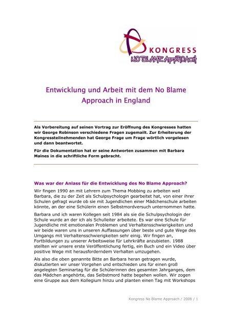Entwicklung und Arbeit mit dem No Blame Approach in England